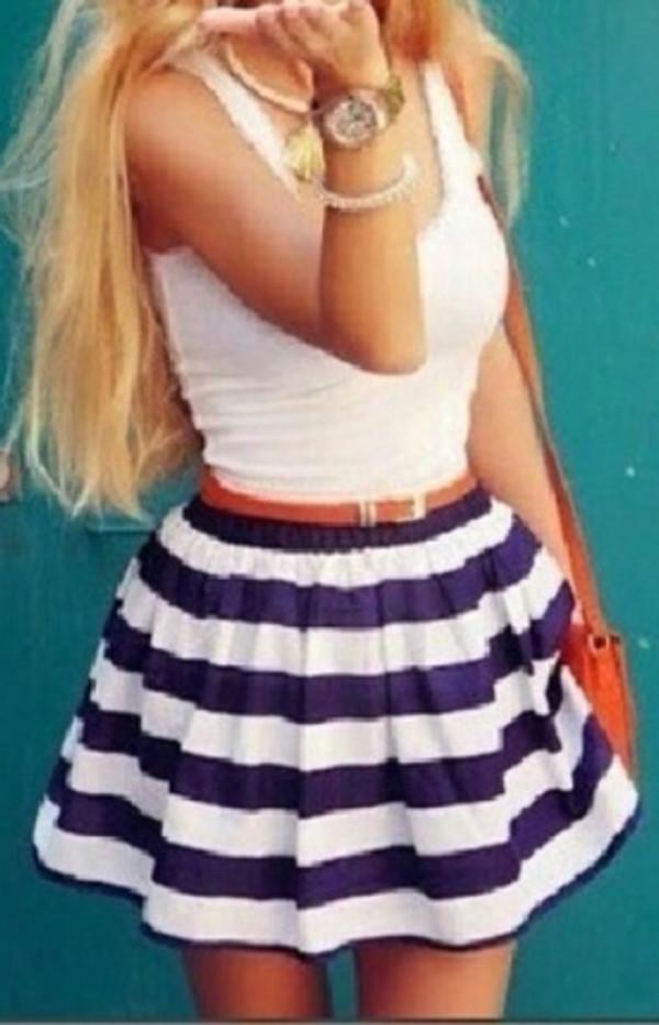 stripes skirt navy blue dress white dress