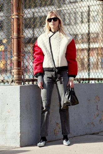 jeans jacket sunglasses bag black bag shoes black jeans streetstyle flats