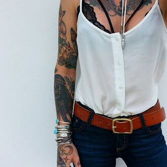 shirt jeans jeggings blue white tattoo jewels boho shirt lingerie bra bracelets underwear hipster