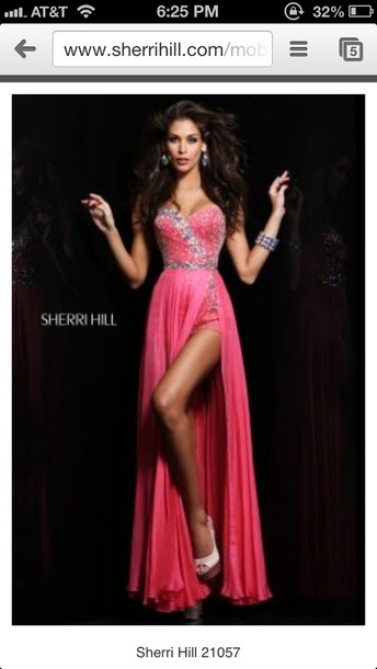 dress prom dress long prom dress pink dress pink silver sherri hill