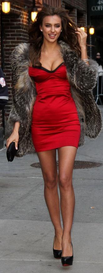 christian louboutin irina shayk red dress fur coat fur jacket