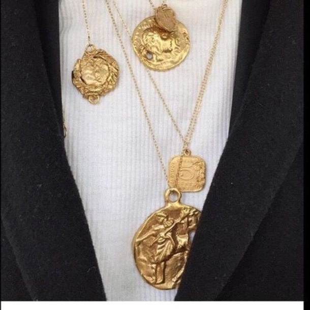 jewels current layered necklace gold edgy editorial gold chain