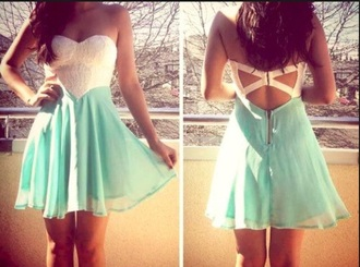 white and blue dress girl's clothes mint cut-out sweatheart neckline beading white blue dress