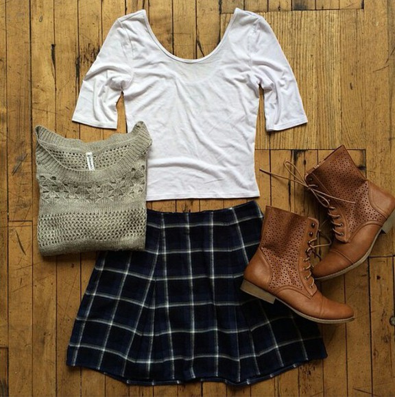 blouse shoes skirt tartan tartan skirt back to school boots aeropostale