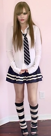 dakota rose,kotakoti,school girl,school uniform,navy,white,blouse,button up,tie,stripes,striped tie,skirt,pleated skirt,school skirt,knee high socks,girly,cute,cute outfits,kawaii,kawaii outfit