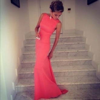 dress long dress high neck coral coral dress sleeveless long sexy form fitting