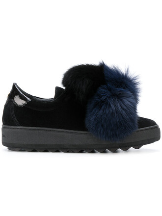 fur fox women sneakers leather cotton black shoes