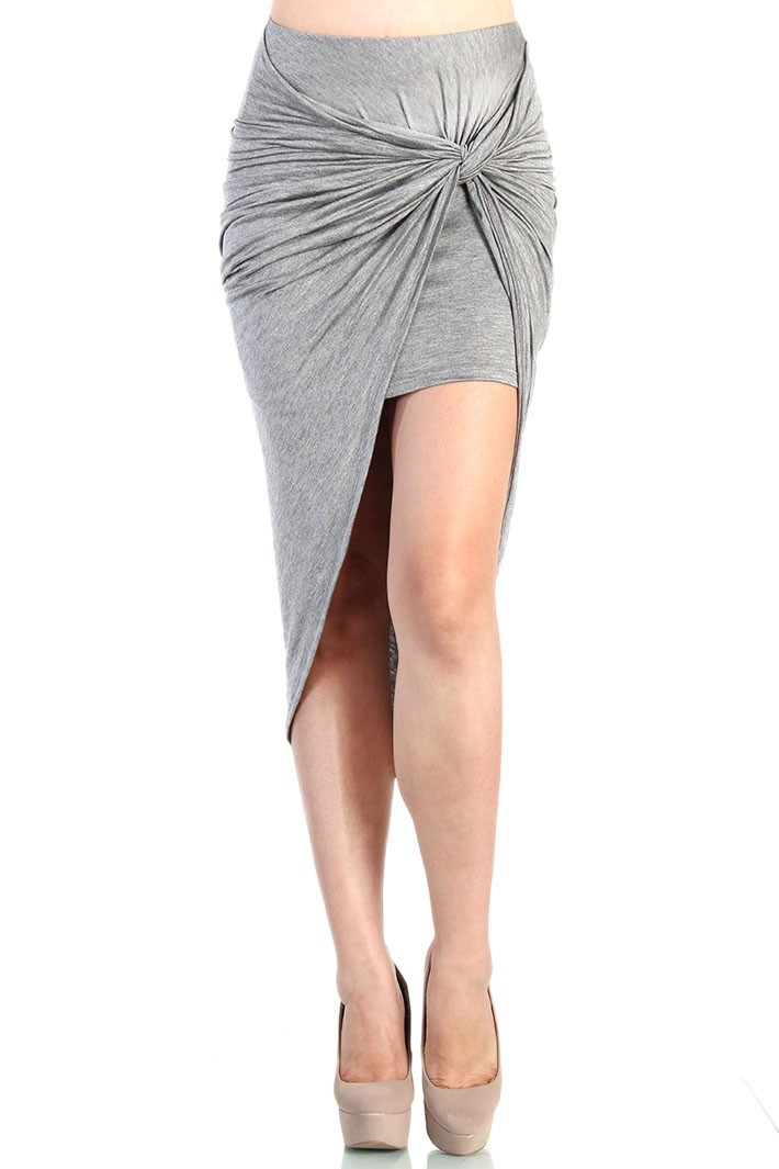 Twist-front stretch skirt - Gray