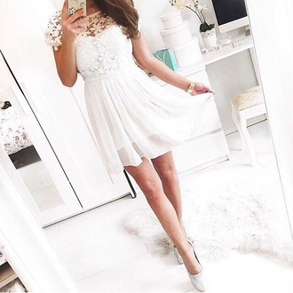dress white dress white lace dress lace top bustier cute dress cute shoes high heels white shoes white high heels
