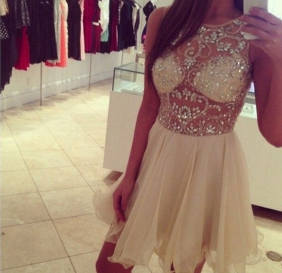 dress prom dress diamonds sparkling dress 721840 beige dress beautiful dress short chiffon dress
