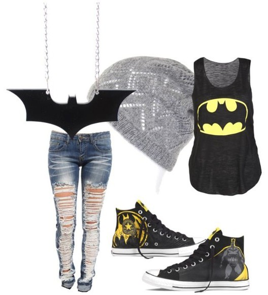 batman jeans shoes converse high tops cool jumpsuit