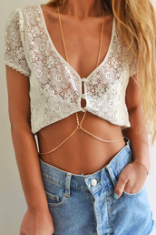 t-shirt,top,white,wummer,jeans,necklace,jewels,blouse,lace,floral,cute,pretty,body chain,shirt,crop tops,button up,crochet,beach,tank top,beige tank top,ruffle,sexy,cool,sweet,amazing,flawless,dream,noah,new york city,gold,gold body chain,belly bracelet,white tank top,beautiful,white lace croptop,crochet crop top,lace shirt,white shirt,short shirt,gold chain,chain,gold jewelry,gold necklace,thin necklace,jewelry,body chain teal gold silver summer,dope,indie,cardigan,lace skirt,skirt,belt,boho,summer,dentelle,cover up,lace top,beach dress,white top,summer dress,crop