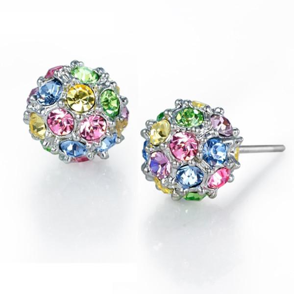 Sterling Silver Crystal Ball Stud Earrings Kids