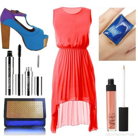 blue bag dress orange dress blue heels makeup blue stone ring