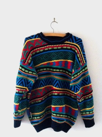 sweater pattern red blue green black yellow love jumper clothes fashion comfy