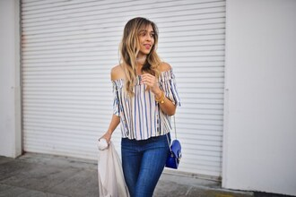 cuppajyo blogger top jacket jeans bag jewels shoes blue bag shoulder bag off the shoulder top
