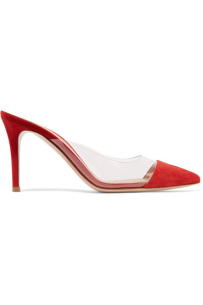 Gianvito Rossi mules suede red shoes