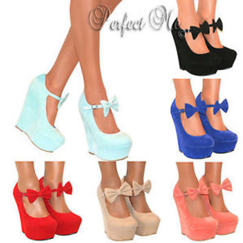 LADIES MARY JANE BOW HIGH WEDGE HEELS SHOE PLATFORM STRAPPY SUMMER SANDAL SIZE  on Wanelo