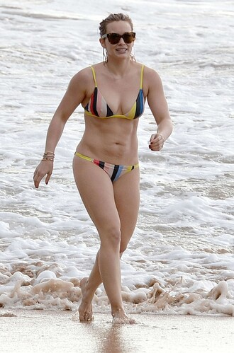swimwear bikini bikini top bikini bottoms colorful hilary duff summer beach