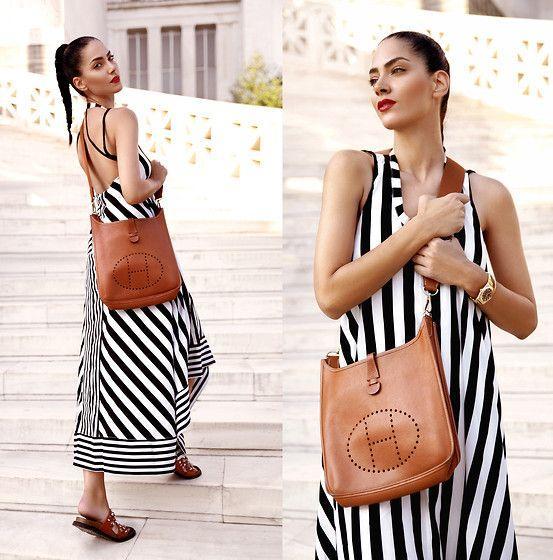 Black and white stripe cross back dress