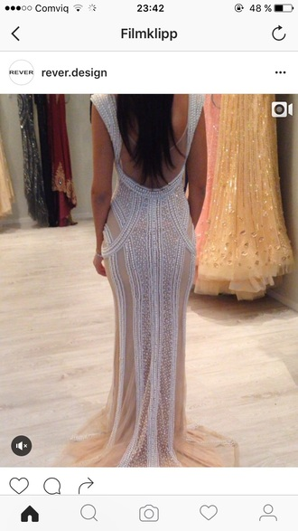 dress white dress champagne dress pearl dress gown prom dress open back dresses