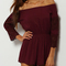 Burgundy off the shoulder lace embellished jumpsuit -shein(sheinside)