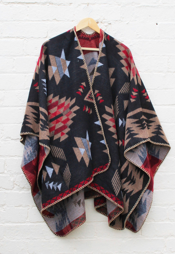 Cara blanket cape with aztec design in black, red & beige