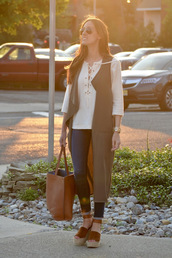 classroom couture,blogger,jacket,top,jeans,shoes,bag,lace up top,white top,long sleeves,sleeveless coat,green coat,wedges,brown bag,aviator sunglasses