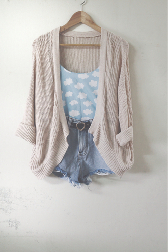 tank top top cardigan knitted cardigan shorts belt shirt sky clouds cloud top blue white white clouds blouse t-shirt the fault in our stars sweater taupe denim shorts cute pattern crop tops crop outfit outfit idea summer outfits top: blue with clouds. cardigan : beige .  shorts : blue