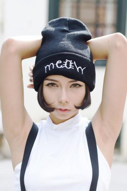 hat beanie meow cats it girl shop asian kawaii kawaii grunge circle lenses  sleeveless japan cute b49b0b16c61