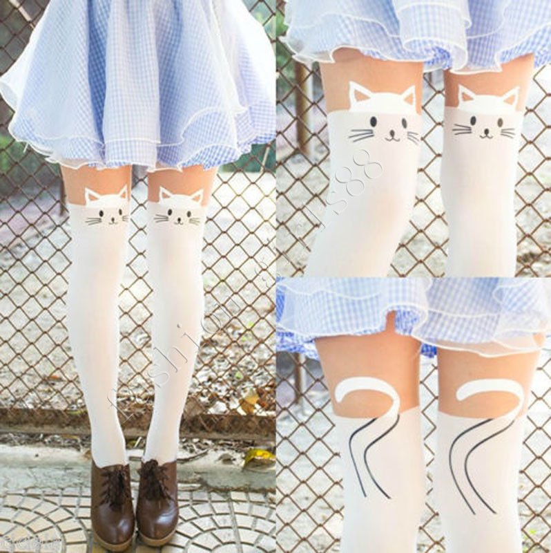 Hot Sheer Pantyhose Mock Stockings Tights Leggings White Face Cat Tattoo Socks | eBay