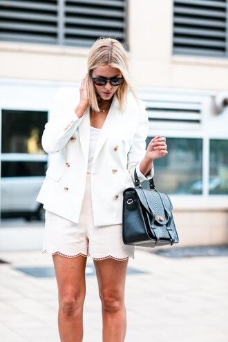 the courtney kerr blogger jacket blazer white jacket black bag white top white shorts high waisted shorts all white everything