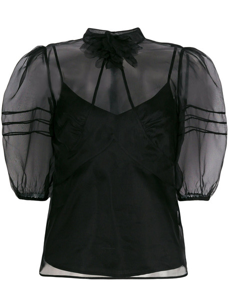 RED VALENTINO blouse sheer women black silk top