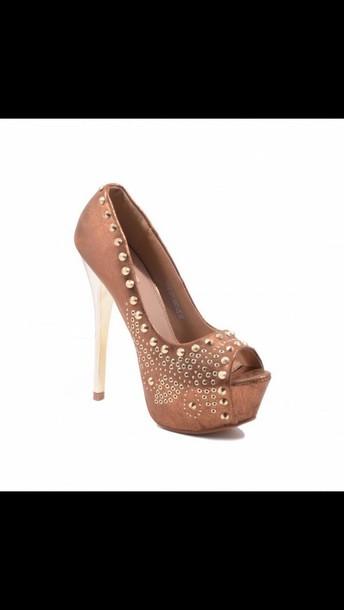 shoes golden heels