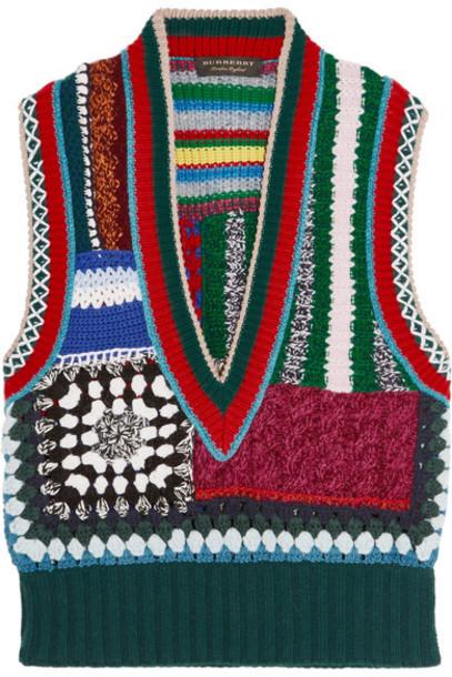 Burberry vest patchwork red jacket