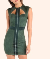dress,girl,girly,girly wishlist,olive green,bodycon,bodycon dress,suede,suede dress,mini dress,zip,sleeveless,sleeveless dress