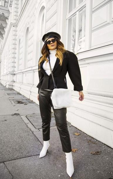 fashionlandscape blogger bag jacket shoes pants sunglasses beret blazer black blazer crossbody bag white boots boots winter outfits leather pants hat