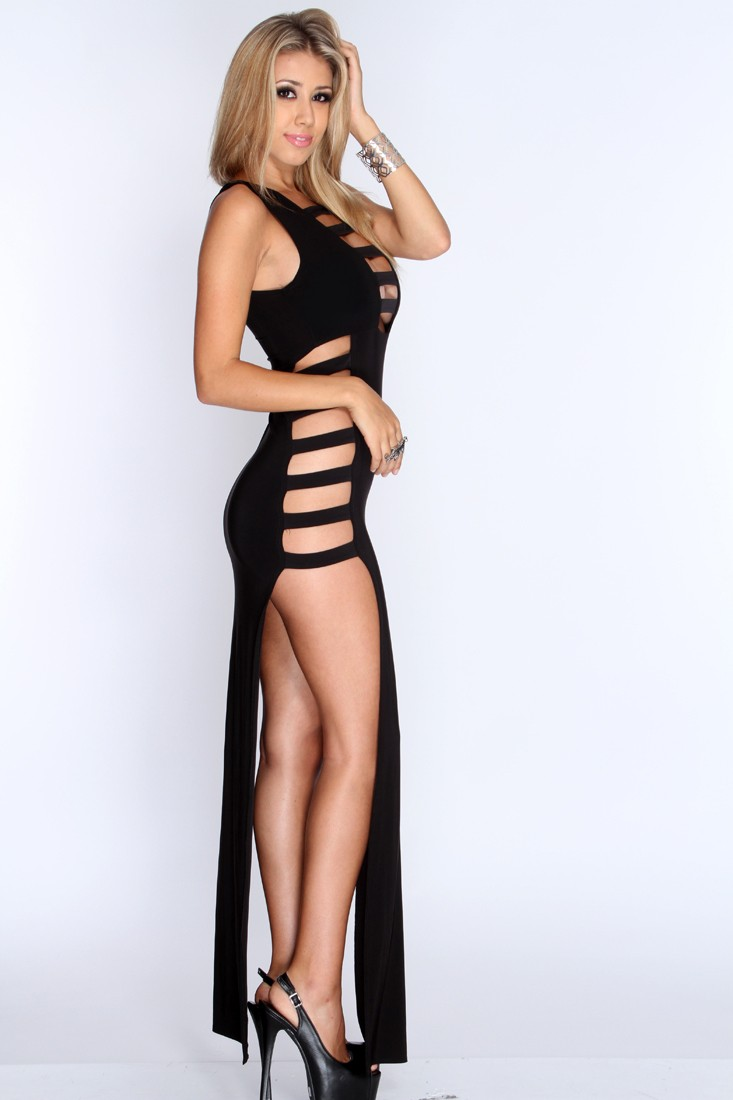 Black Strappy Cut Out Double Slit Sexy Maxi Dress - Clothing