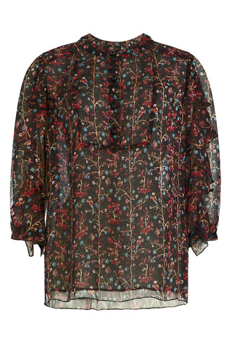 blouse silk multicolor top