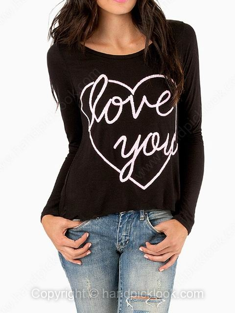 Black Round Neck Love You & Heart Print Back Split T-Shirt - HandpickLook.com