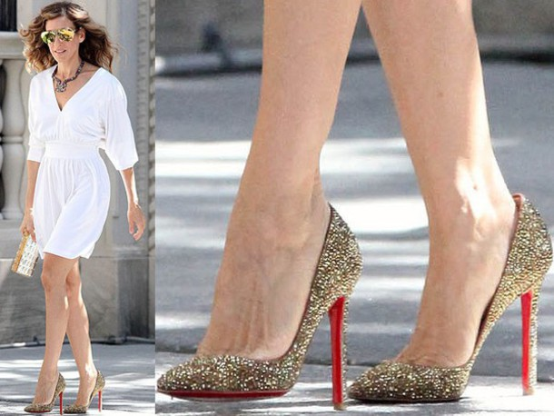 style carrie bradshaw sparkle glitter shoes louboutin