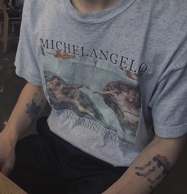 shirt michealangelo shirt grey t-shirt