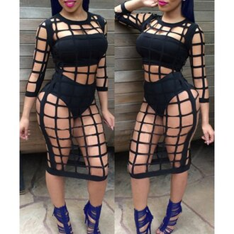 dress black hot fashion style sexy see through stylish long sleeves clothes rose wholesale-jan