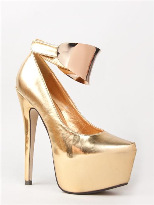 New Kiss KOUTURE Women Hot Metal Cuff Ankle Strap High Heel Pumps Sz Gold Nicole | eBay