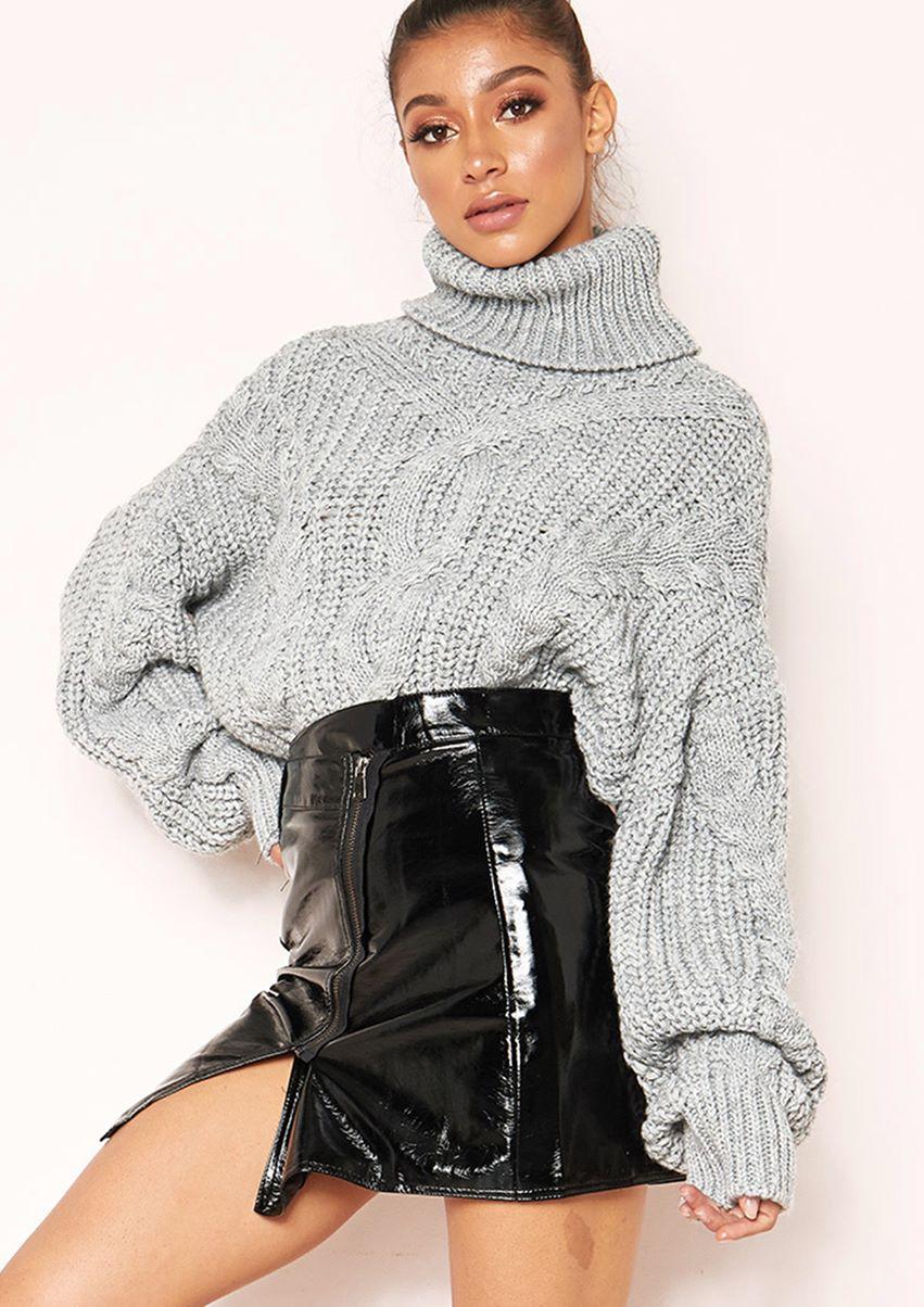 Hana Grey Cable Knit Roll Neck Jumper