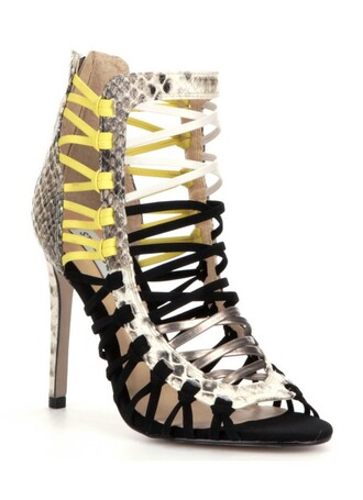 shoes sexy sexy shoes neon neon yellow black black heels black shoes snake snake shoes snake skin snake print pewter cream