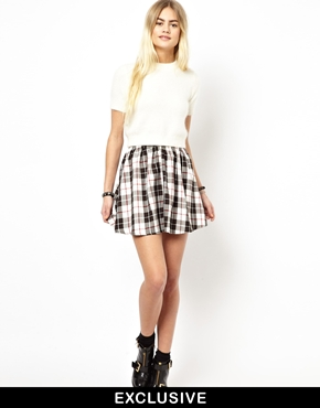Daisy street plaid mini skirt at asos
