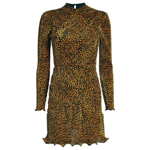 Saylor Tovah Leopard Plissé Mini Dress
