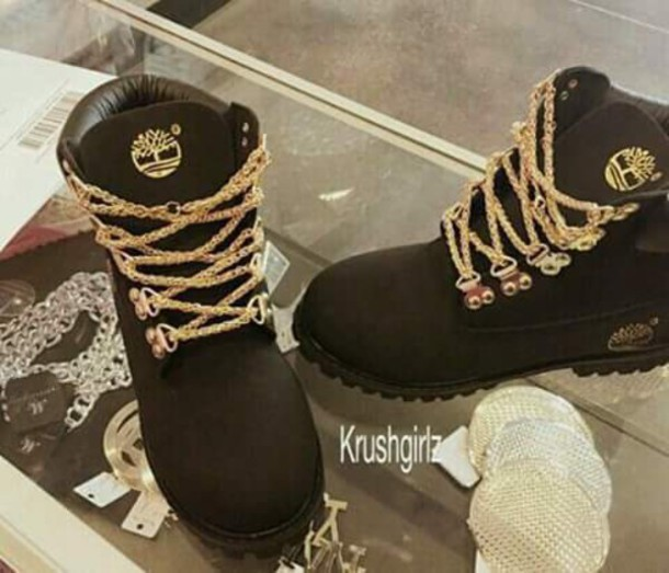 Shoes Tim S Black With Gold Chains Timberland Dope