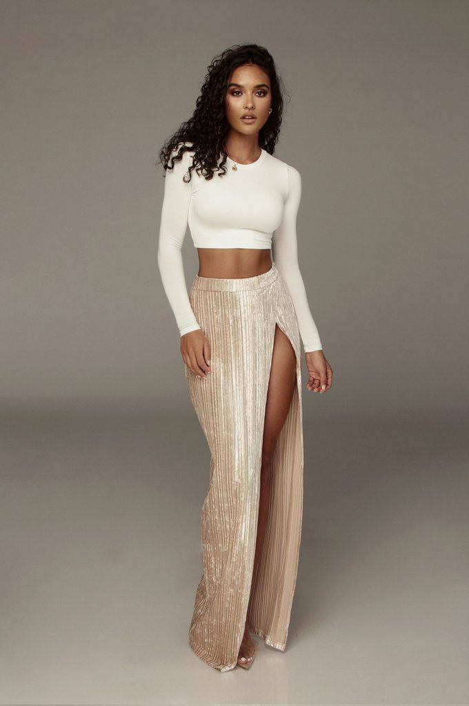 Champagne Krisana Velvet High Slit Skirt